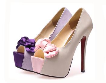 2014 Summer Women Pumps Red Bottom High Heels Flatform Wedding Shoes Cute Bow Pumps Sapatos Femininos Free Shipping XWD012