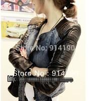 2014 autumn women's fashion cardigan casual patchwork leather slim zipper denim coat short jacket