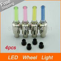 4 colors motorcycle Bike Wheel LED light DRL lamp Bicycle car Valve Cap Lamp Bike daytime running light 4pcs/lot