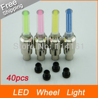 Free Shipping-40pcs  4 colors motorcycle Bicycle Wheel LED light car Valve Cap Lamps Bike DRL lamp daytime running light