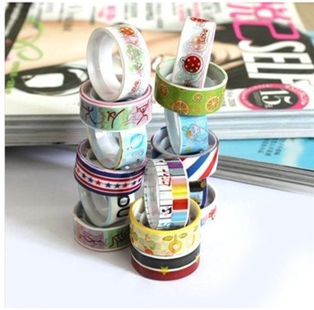 Free shipping printed fabric tape/ Korean decorative tapes/ Diy tape flowers lowest price/118 designs for select(10pcs/lot)