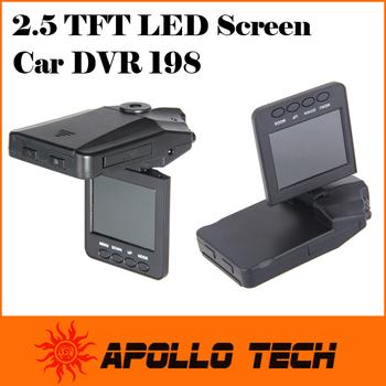 2.5 TFT LCD screen VGA 640*480 Portable Car DVR 198 6 IR LED Night vision HD Car Video Recorder Camera 90 degree view angle