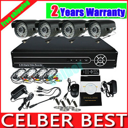 Home 4CH H.264 Surveillance DVR 4PCS Day Night Weatherproof Security Camera CCTV System Free Shipping(China (Mainland))