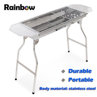 Retail Top quality Large size stainless steel BBQ grill Portable Free shipping