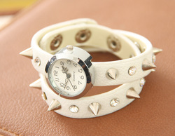 New Arrival Punk Spike Cow Leather Watches, Leather Winding Women Watches 100% Excellent Quality(China (Mainland))