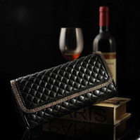 Winter bags female candy color plaid sheepskin clutch vintage genuine leather day clutch women's handbag