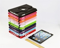 New Arrival Multicolor For ipad mini 360 Rotating PU Leather Case Smart Cover Stand free Shipping
