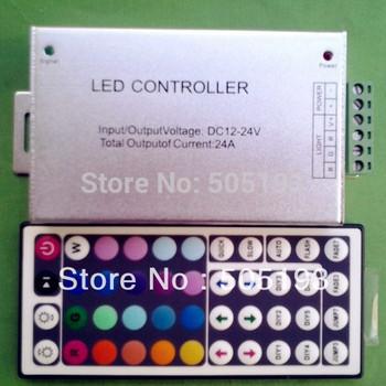 (Aluminum) 12-24V 24A 44key IR Remote Led RGB Controller, free shipping