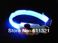 Free Shipping Pet Dog Cat LED Glow Collar Nylon Electric Training Collars Products for Dogs 5 Designs 18-28cm #3775