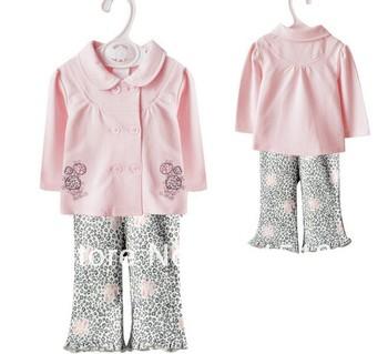 Free Shipping 5 Sets/lot 2013 New super beautiful girls pink cardigan vitamin brand 2 pcs/sets=long sleeved coat+pants baby wear