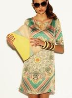 Free shipping woman new fashion A line print silk dress big size loose casual dress Autumn Winter dress