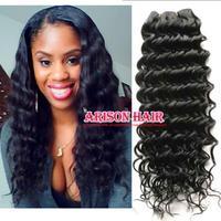 Cheap Beauty Free shipping deep wave brazilian hair 1b# virgin human hair weft body wave 4pc 3pc a lot Hair extensions bundles