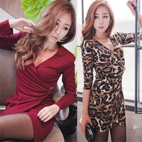 dresses new fashion 2013 V-neck slim long-sleeve ol dress slim hip one-piece dress elegant fashion leopard print short skirt