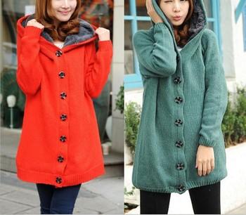 Women Autumn And Winter High Neck Velveteen Hooded Sweater Coat Outerwear