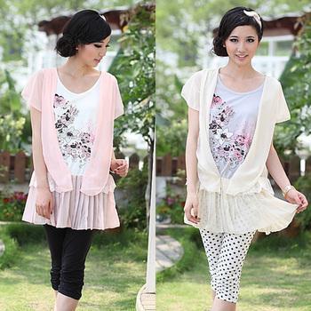 2014 new arrival summer chiffon shirt maternity top elegant cute clothes applique t-shirt for pregnant women