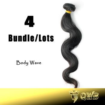 Free Shipping 12''~32'' 4Bundle/Lots Body Wave QWB Brazilian Virgin Hair No Corn Chip Smell 5A Quality Virgin Hair