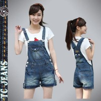 [TC Jeans] 2014 summer fashion female suspenders shorts jumpsuit jeans for women plus size preppy style denim shorts hot selling