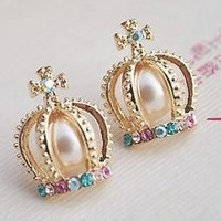 2013 New Trendy Crown Cross Chaped Stud Earring with Colorful Crystal Artificial Pearl for Women Ladies Free Shipping Wholesale