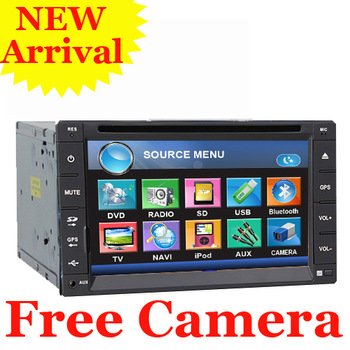 "Free Rear Camera 6.2"" HD  LCD Double Din GPS Car DVD Player Stereo Radio head Deck GPS Navigation Bluetooth In Dash TV Free MAP"