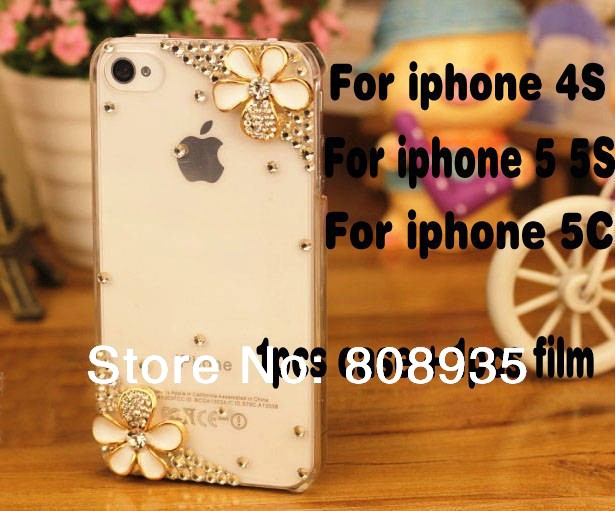Free shipping 2014 hot sale Bling 3D Flower Diamond Rhinestone Case Cover For iPhone 4/4s 5c BRAND PHONE CASE+1 screen protector(China (Mainland))
