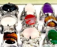 Wholesale Mix lots 50pcs Alloy Ring Fashion Stone Finger Rings
