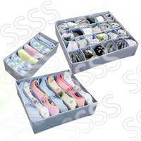 3 pieces one set,3 in 1 foldable box Bamboo Charcoal fibre Storage Box for bra,underwear,necktie,socks organizer box Home basic