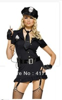 Free shipping ML5315 Halloween Black Adult Women Hat Included Sexy Military Costumes