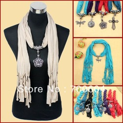 2013 Newest Fashion Women Jewelry Scarf w/ Pendant, Factory Supply, Mixed Colors and Designs, Wholesale, SFmixed 5(China (Mainland))