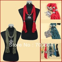 2013 Fashion Women Jewelled Scarf w/ Charm, Factory Supply, Mixed Colors and Designs, Wholesale, SF mixed 4