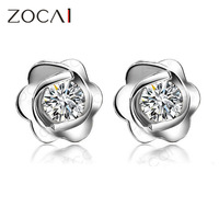 ZOCAI FLOWER NATURAL 0.19 CT CERTIFIED H / SI DIAMOND EARRINGS JEWELRY EARRING EAR STUDS ROUND CUT 18K WHITE GOLD