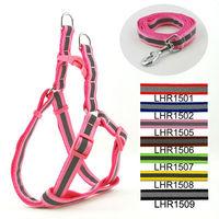 Wholesale Free shipping (7 Colors)  7pcs/lot Classic Pet Dog Reflective Print Harness Leash Set 1.5cm
