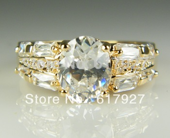 10k Solid Yellow Gold White Sapphire Ring For Women valentine day gift for lovers Wedding Ring Size7.5 P103,Fashion jewelry