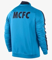 New 14 15  Manchester C  full sleeve blue soccer coat winter outer training cloth football club jacket hoodies Free Shipping