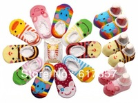 Free shipping Baby Boats Socks Children's Shoes Antiskid Non-slip Bottom Cartoon 9-15cm