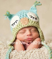 Handmade Cute Newborn Baby Unisex Crochet Knit owl beanie Hat in green and blue christmas gift Free Shipping over the world