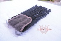 "Virgin Hair Closure 4""x4"" Size Curly 10""-20"" human hair extension free shipping"