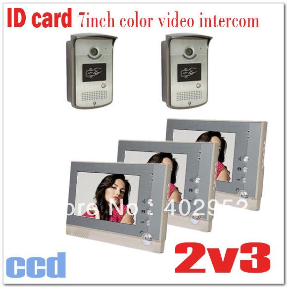 "ID Card 7"" apartments video intercom systems/door bells + CCD and Waterproof camera (2 cameras+3 monitors ) Drop shipping(China (Mainland))"