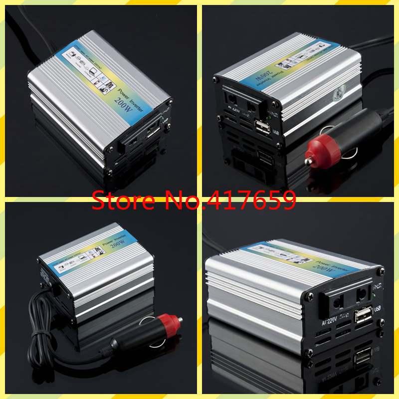 1pcs 12V DC to AC 220V Adapter Car Auto Power Inverter Converter Adaptor 200W USB(China (Mainland))