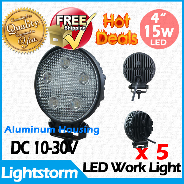 Free shipping! Super bright! 5 Pcs /lot aluminum housing 15w led work light /working light for tractor truck crane forklifts(China (Mainland))