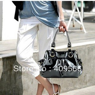 2013 fashion Hot  large capacity black japanned pu leather pleated ol women's handbag shoulder bag  female bags