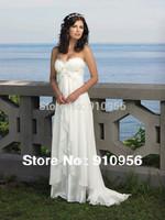 Sexy A-line White/Ivory Sweetheart Appliques Chiffon Beach Wedding Dresses