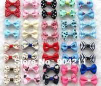 20 designs Lovable pet head ornaments dog hair clip cat bowtie headdress flower children hair clips free shipping wholesale