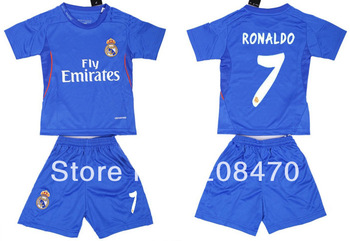 Real Madrid children football kits 2013 2014 away blue #7 Ronaldo jerseys soccer casual kids sports uniforms Free Shipping