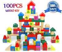 Best-selling 100 pcs wooden wood Letter & Digital building blocks sets kids gift diy toy