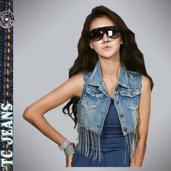 [TC Jeans] jeans jacket for women clothing individuality paillette chain tassel decoration ultra short denim vest jeans coat