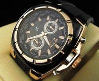 Vogue V6 Strips Hour Marks Round Dial Golden Case Quartz Hours Analog Silicone fashion Watch Men luxury wristwatches SLW17