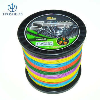 Free shipping 8 WEAVES 1000M 8 STRAND MULTI COLOUR BRAIDED PE FISHING LINE  27  40 50 65 80 100 120 150LB