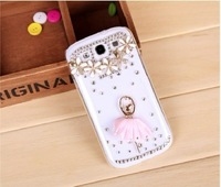 3D Cute Bling Crystal Diamond Ballet Girl For SAMSUNG i9300 SIII Skin Case Cover