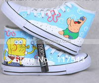 Canvas Shoes High Top SpongeBob SquarePants Blue Hand Painted Canvas Shoes