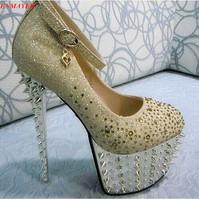 ENMAYER 2015 sexy women's pumps 16cm ultra high heels platform party dance shoes  pumps ankle strap shoes Rivets Platform pumps